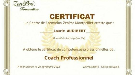 Certificat de coach professionnel / Laurie Audibert / Coach Holistique